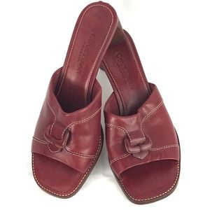 COLE HAAN leather slides slip on triangle heel 6.5